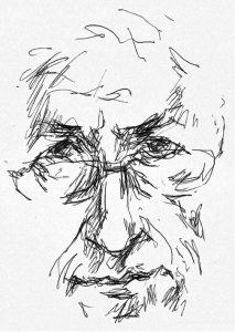 Skizziertes Selbstportrait Albrecht Weckmanns